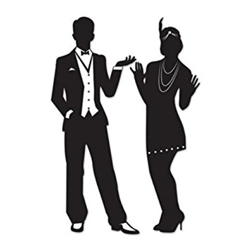 355x355 Gatsby Roaring 20s Couple Silhouettes Party