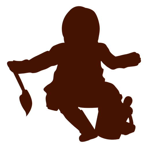 512x512 Baby Sitting With Toys Silhouette