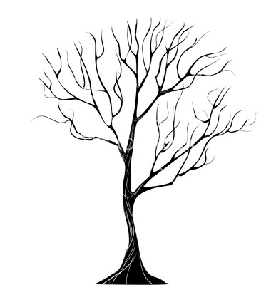 380x400 Silhouette Of Thin Wood Vector Isolated