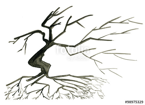 500x364 Abstract Silhouette Of A Tree With Branches And Roots. Watercolor
