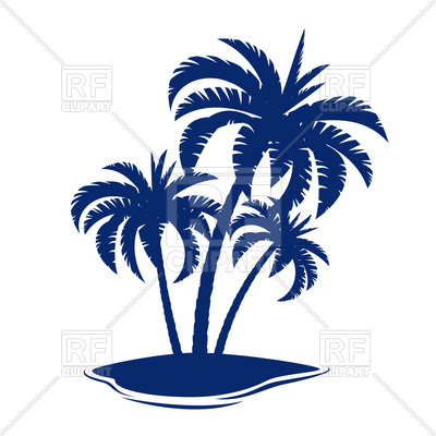 400x400 Tropical Island With Palm Tree Silhouette Royalty Free Vector Clip