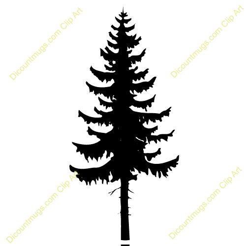 500x500 Clip Art Evergreen Tree Silhouette Clipart