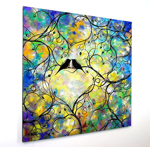 570x559 Large Beautiful Love Birds Silhouette Painting Whimsical