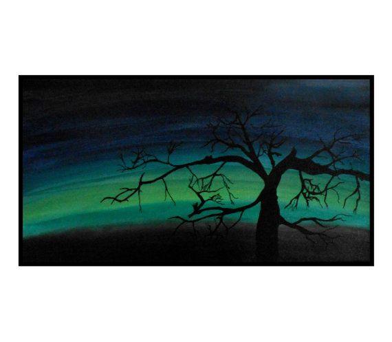 570x497 Northern Light Original Landscape Painting Tree By 7rayeddesigns