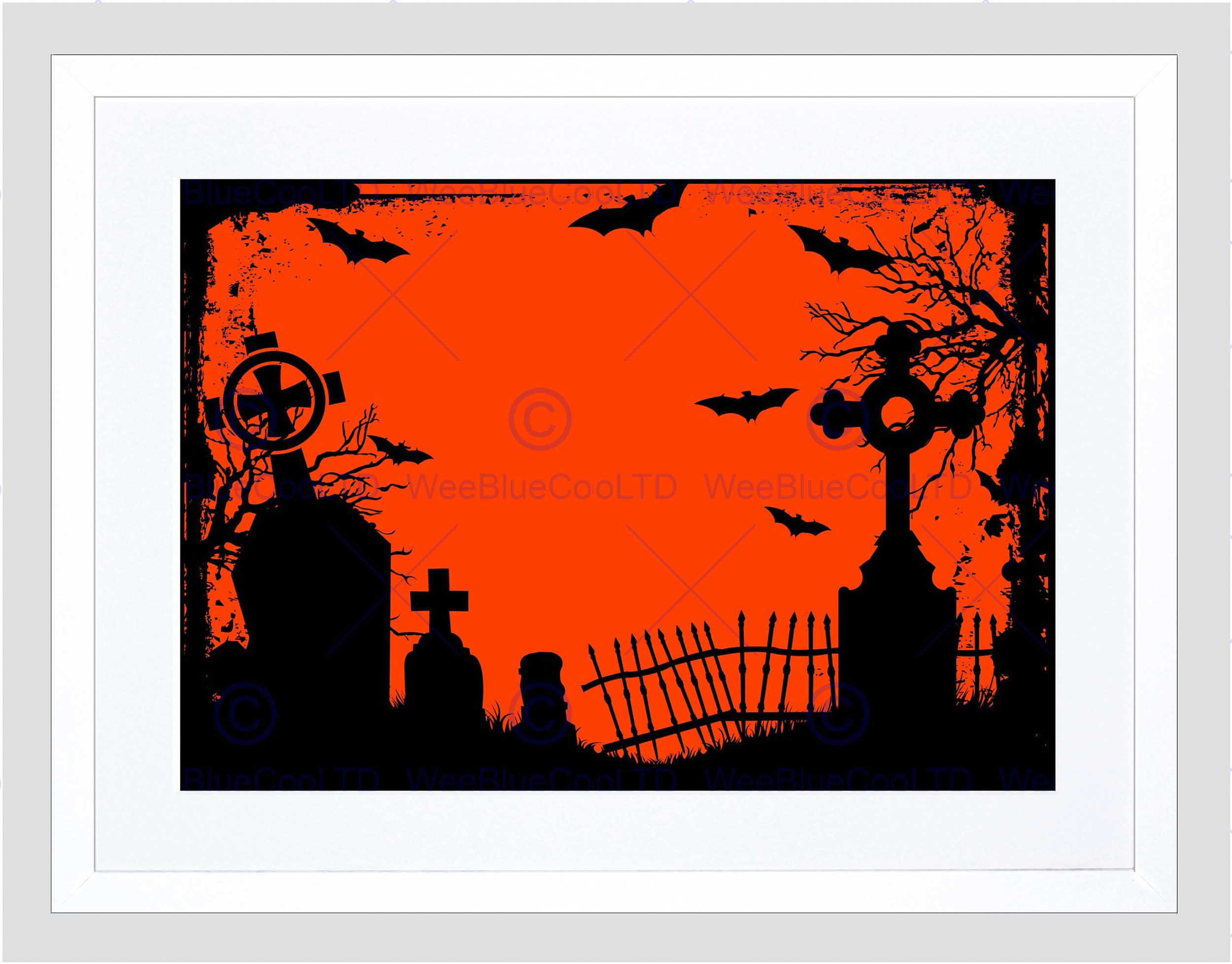 2500x1956 Painting Halloween Graveyard Cemetery Silhouette Framed Art Print