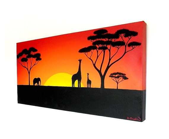 570x469 Sun Setting Over The African Plains Original Acrylic Painting