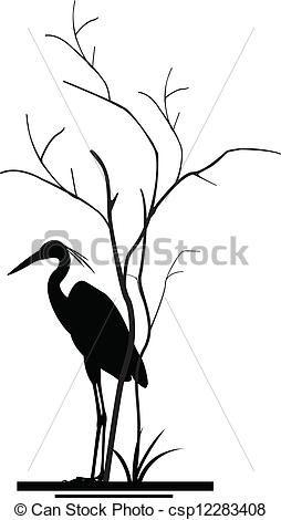 254x470 Heron And Tree Silhouette