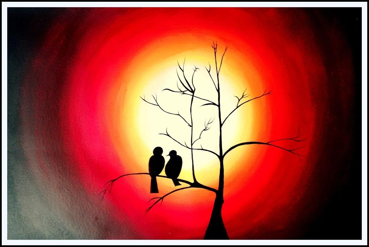 1280x860 Buy Beautiful Bird Silhouette Handmade Painting By Ashish Amrita