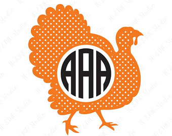 340x270 Chevron And Polka Dot Thanksgiving Turkey Turkey Monogram