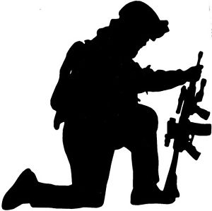 300x299 Kneeling Soldier Silhouette Vinyl Decal U Pick Size Amp Color Ebay