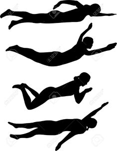 235x303 Male Swimmer Silhouettes Set 3