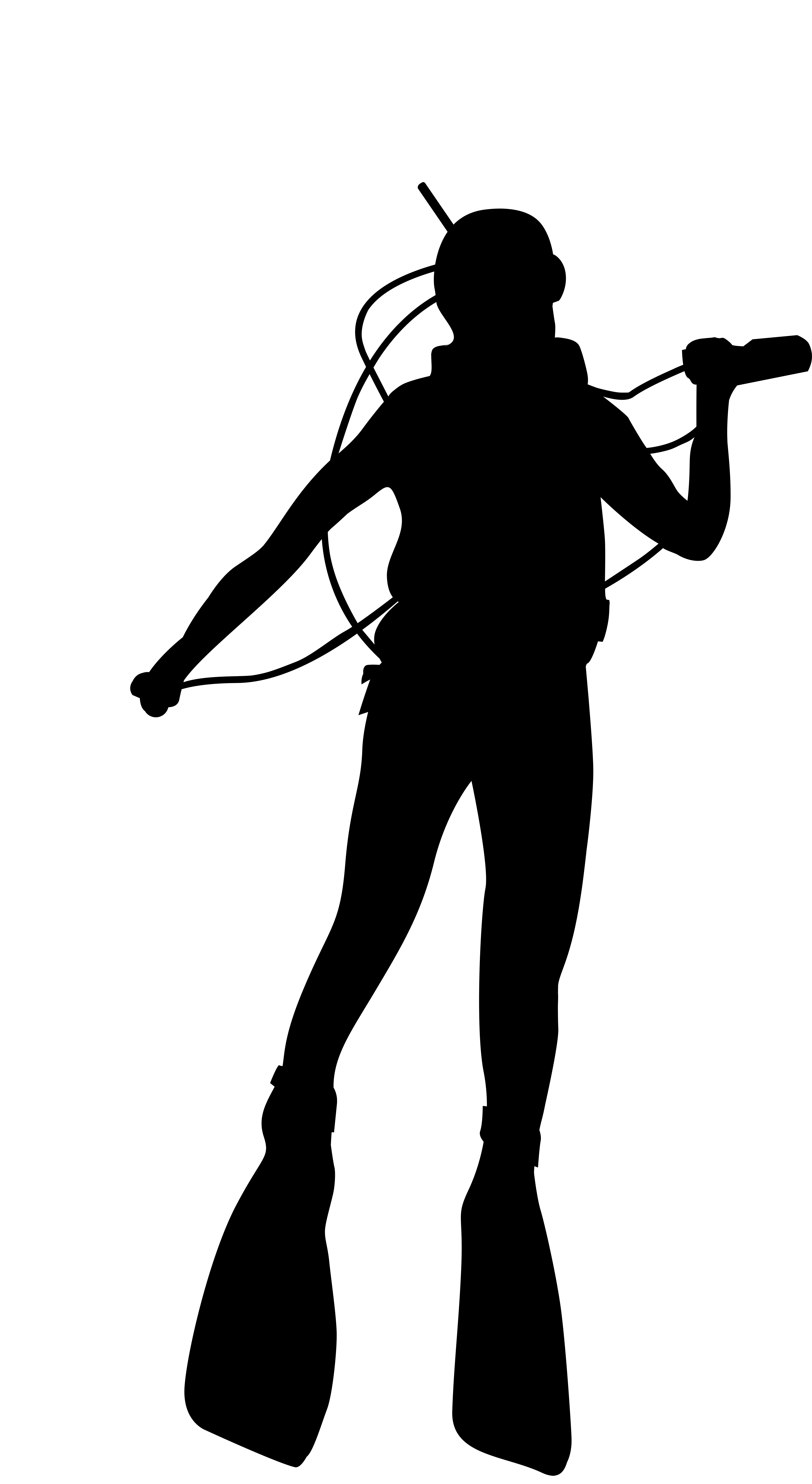 4381x8000 Silhouette Underwater Diving Scuba Diving Clip Art