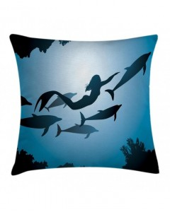 240x300 Underwater Curtain Mermaid And Dolphins Print 2 Panel Window Drapes