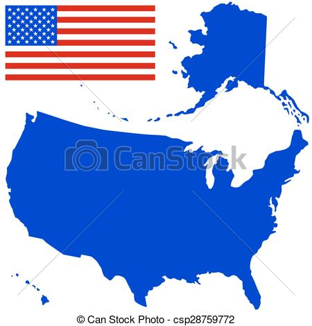 450x470 Silhouette Map And Flag Of The Usa. All Objects Are Vectors