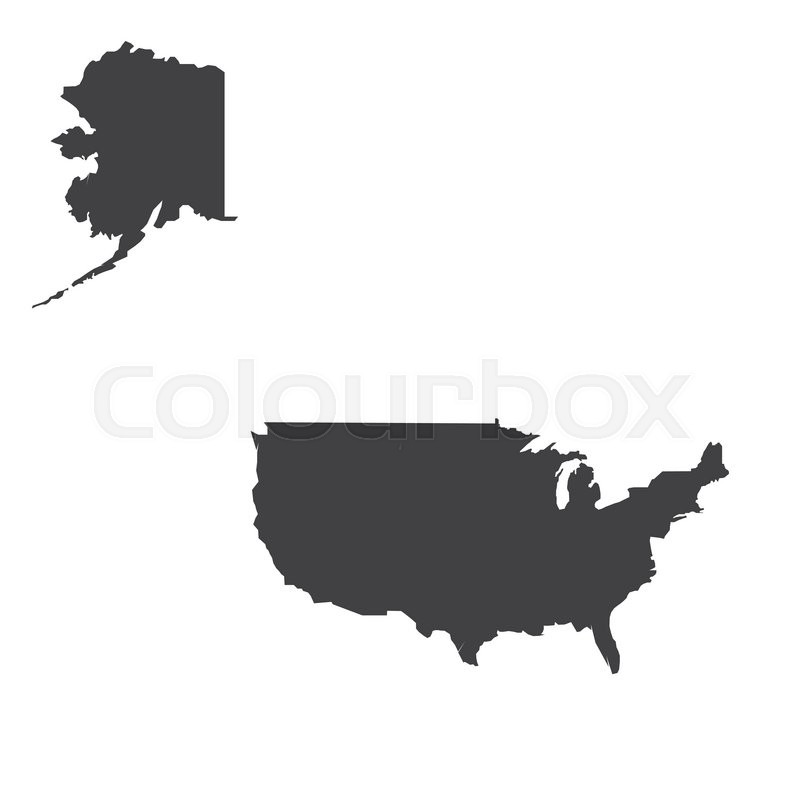 800x800 Usa Map Silhouette Illustration On The White Background. Vector
