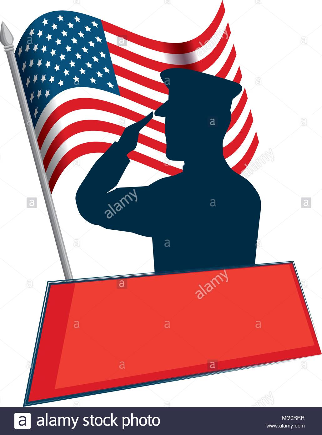 1030x1390 Silhouette Of Military Saluting With Usa Flag Vector Illustration