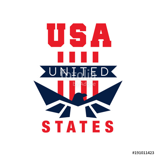 500x500 American Logo Template With Eagle Silhouette. Usa. Independence