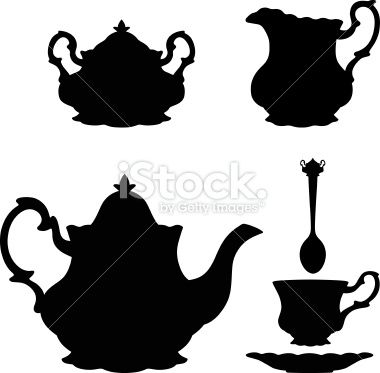 380x373 Fancy Tea Silhouettes Including Teapot, Creamer, Sugar Bowl