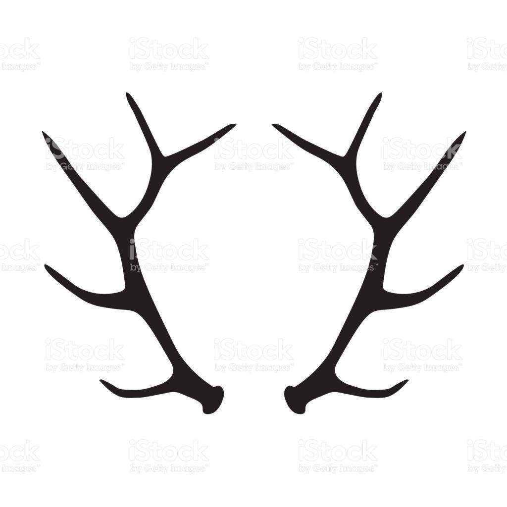 1024x1024 Black Silhouette Of Deer Antlers Stock Vector Art More Images