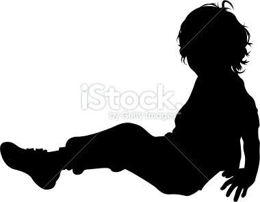 380x295 Vector Illustration Of A Little Boy Sitting Down In Silhouette