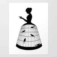 228x228 Duel Silhouette Lady Black And White Victorian Steampunk Art Print