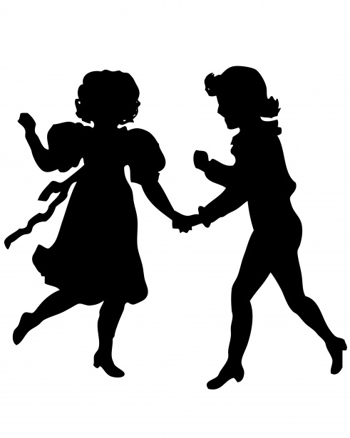 491x615 Victorian Children Silhouette Free Stock Photo