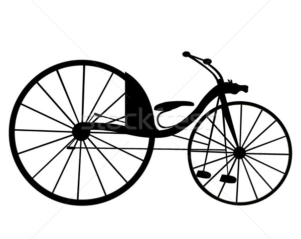 600x477 Victorian Old Retro Bicycle Silhouette Isolated On White Backgr