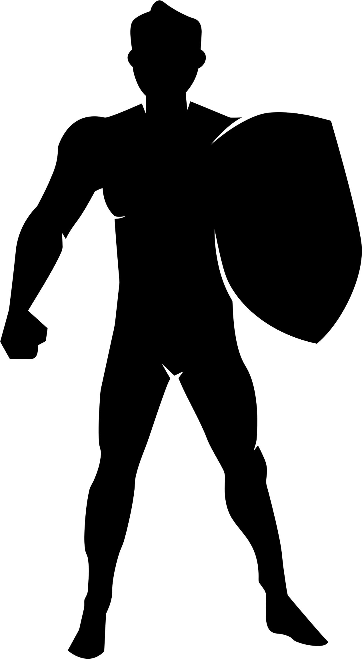 1267x2307 Man With Shield Silhouette Icons Png