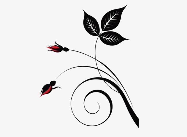 650x477 Line Style Flower Bougainvillea Vine Silhouette Pattern, Line