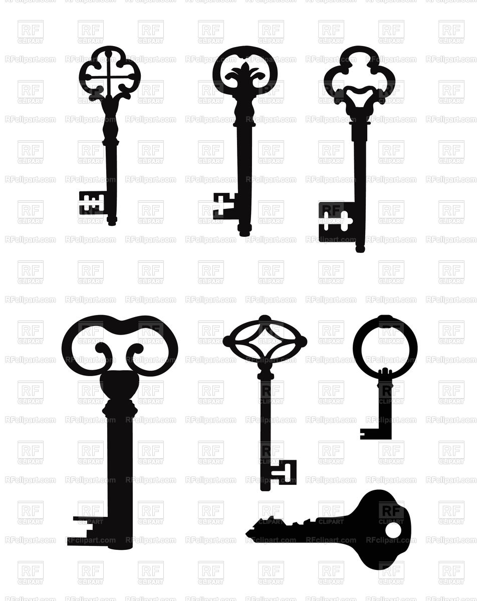 952x1200 Vintage Key Silhouette Set Royalty Free Vector Clip Art Image