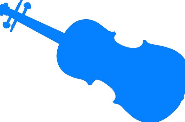 596x393 Blue, Azure, Silhouette, Outline, Violin, Fiddler, Music, Melody