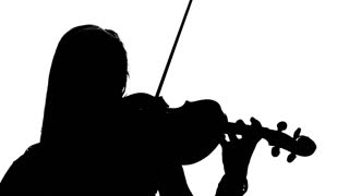 320x180 Woman Playing The Fiddle. Silhouette On White Background. Slow