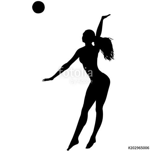 500x500 Woman Beach Volleyball Silhouette, Female Beach Volleyball Clipart