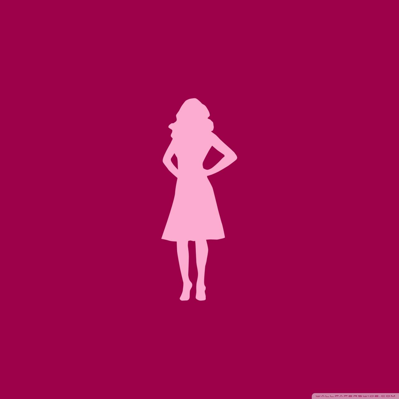 1280x1280 Pink Girl Silhouette 4k Hd Desktop Wallpaper For 4k Ultra Hd Tv