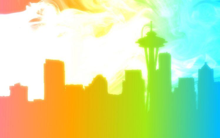 748x468 Seattle, Skyline, Silhouette, Rainbows, Lgbt Wallpapers Hd