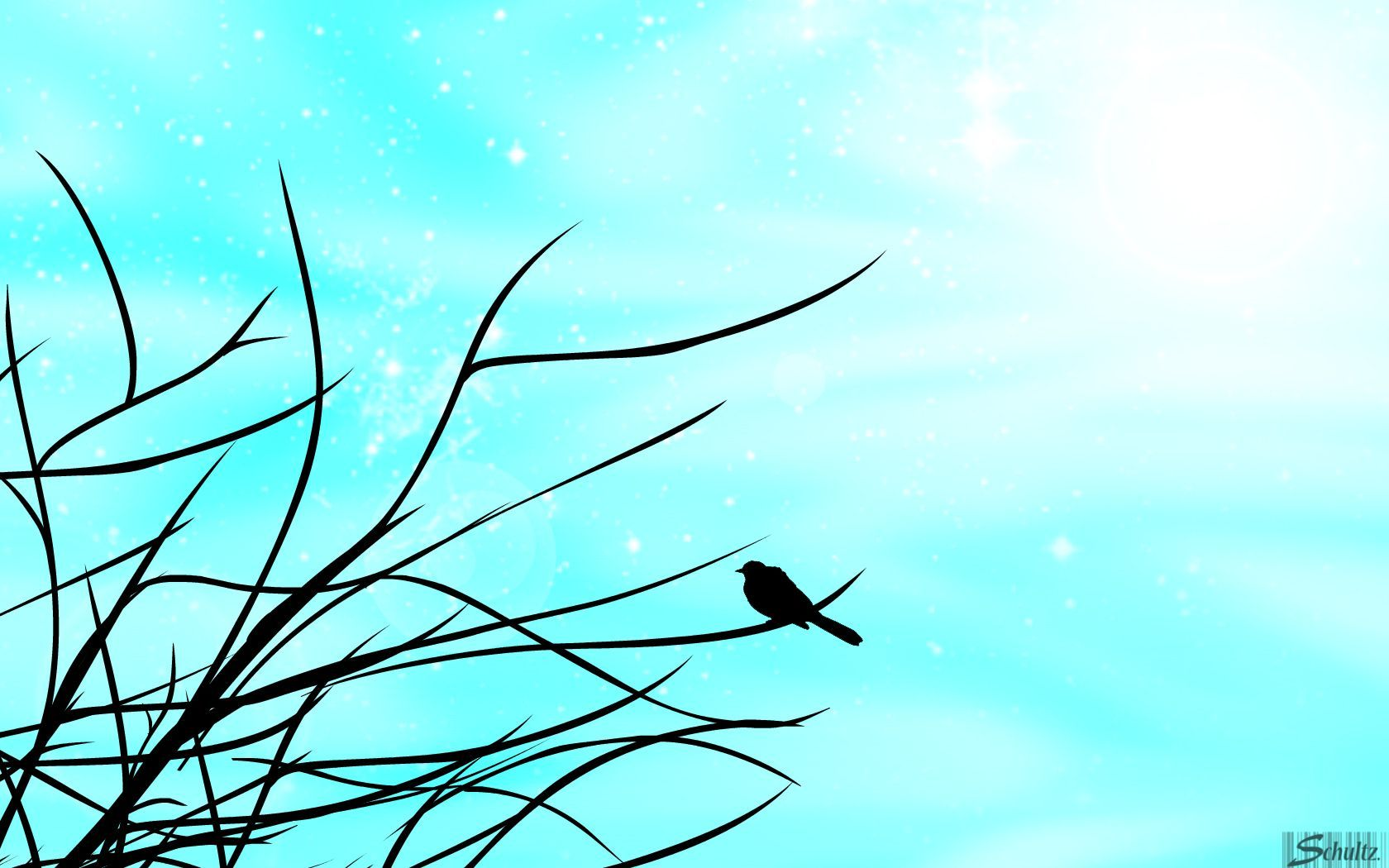 1680x1050 Silhouette Of Bird On Tree In The Winter Wallpaper Crafts