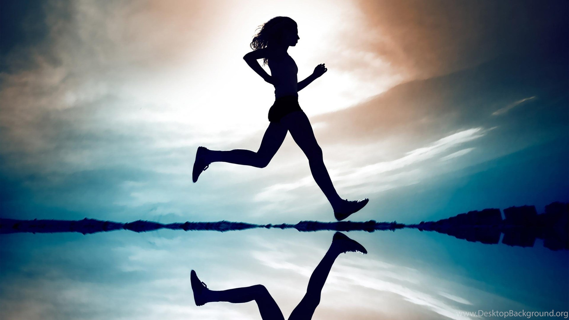 1920x1080 Wallpapers Sports Girls Girl Silhouette Jog Reflection Running
