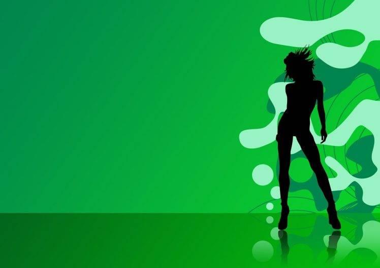 748x529 Women, Dancing, Disco, Silhouette, Vector, Digital Art