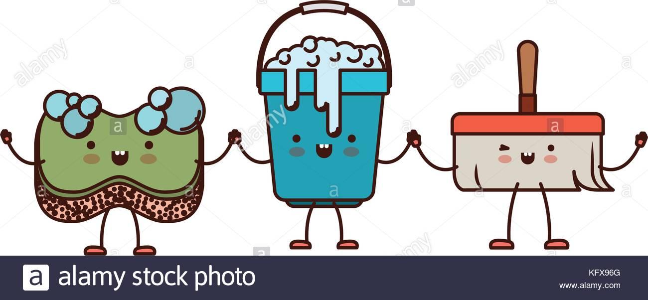 1300x602 Kawaii Cartoon Bucket With Soapy Water And Sponge And Broom