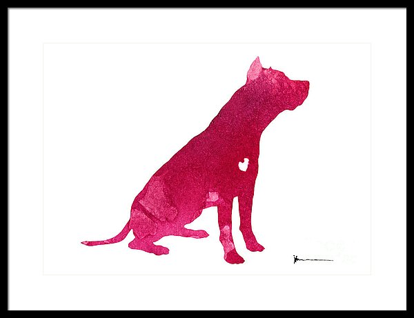 600x461 Pitbull Silhouette Watercolor Art Print Painting Framed Print By