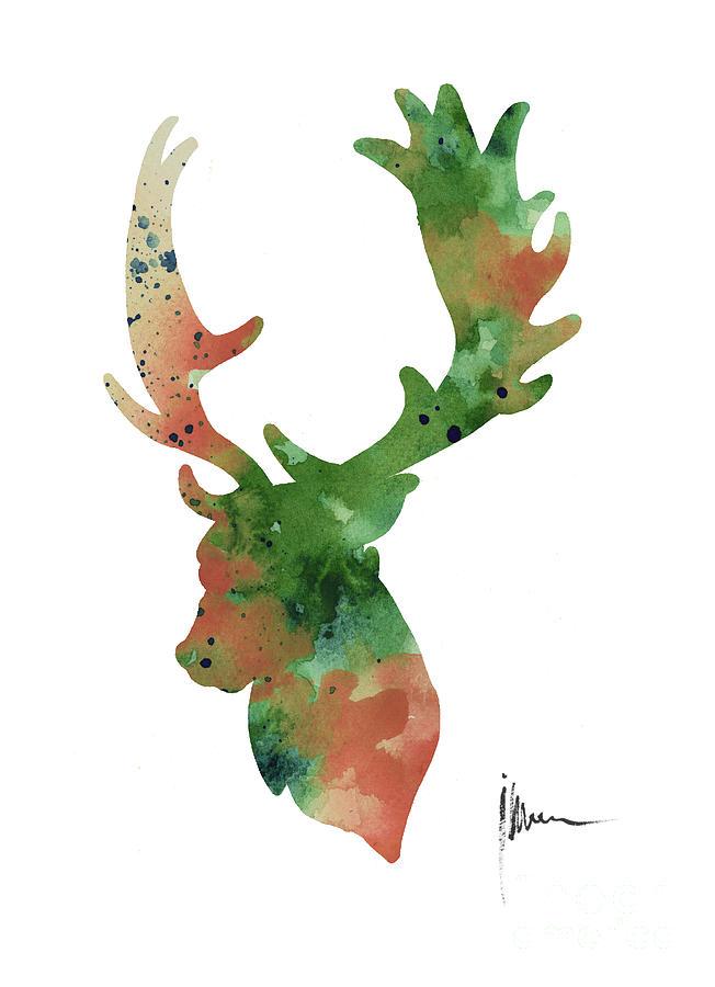 652x900 Deer Antlers Silhouette Watercolor Art Print Painting Painting By