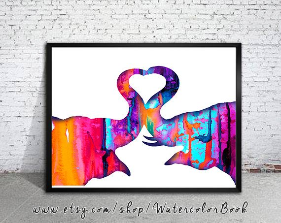 570x453 Elephants Love 6 Watercolor Print Elephant Silhouette Animal