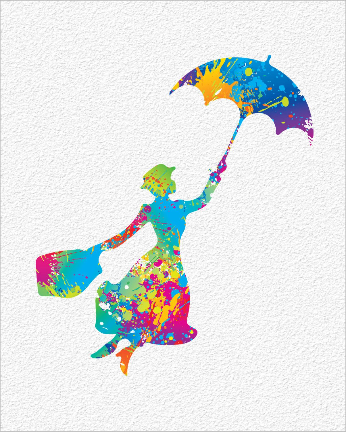 1204x1500 Mary Poppins Watercolor Painting Art Print 8 X 10 Silhouette