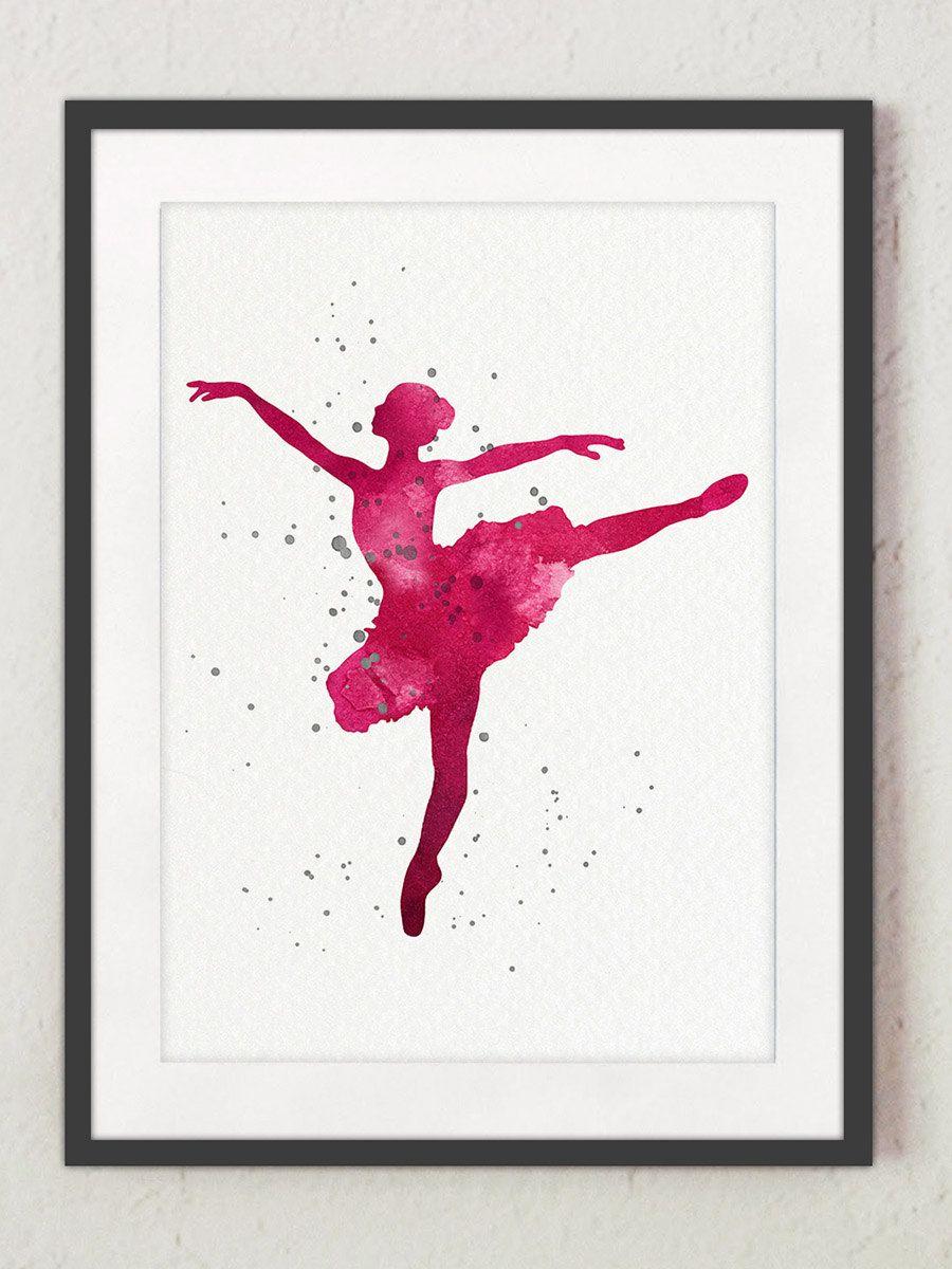 900x1200 Ballerina Art Print, Kids Room Decor Silhouette, Nursery