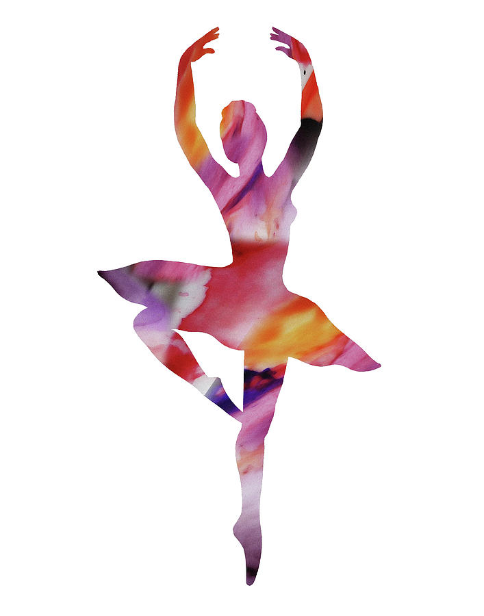707x900 Watercolor Silhouette Dancing Ballerina Ii Painting By Irina