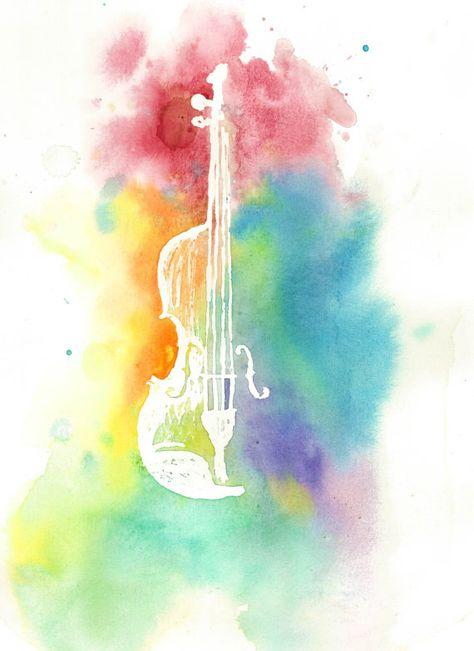 474x651 Watercolor Violin Silhouette Colorful Rainbow Instrument Print