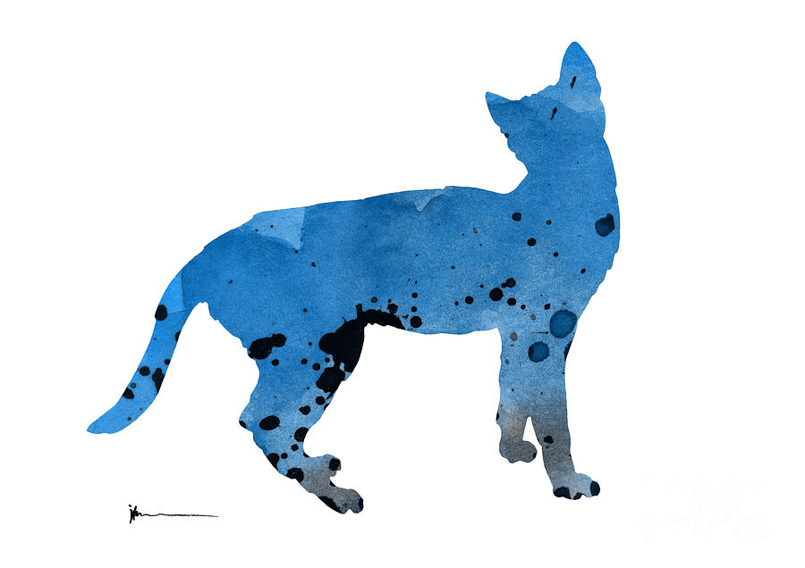 900x636 Blue Cat Silhouettes Art Print Watercolor Painting Painting By