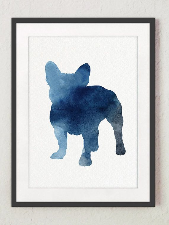 570x760 Blue Frenchie Set Of 6, Nursery Art Print, Watercolor Painting