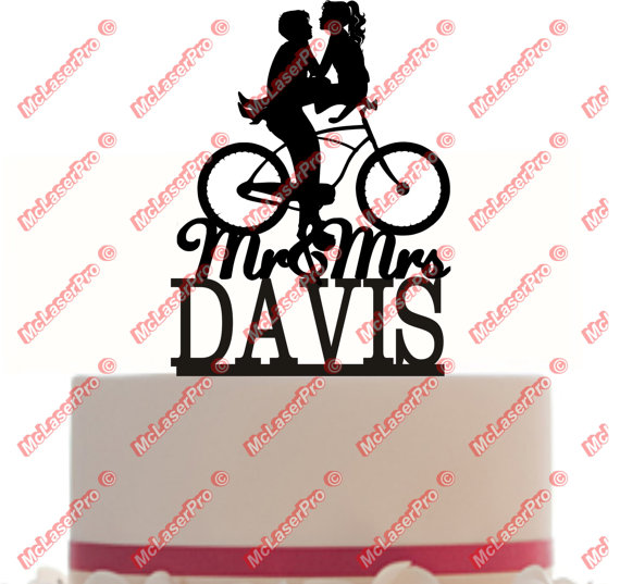 570x537 Custom Wedding Cake Topper Mr And Mrs A Bicycle Silhouette