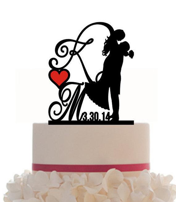 570x653 Custom Wedding Cake Topper Personalized Silhouette